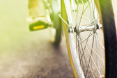 Close up of a bicycle drive wheel - vintage effect — Stok fotoğraf