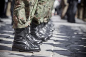 Army parade - boots close-up — Stock fotografie