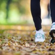 Walking in autumn scenery, exercise outdoors — 图库照片