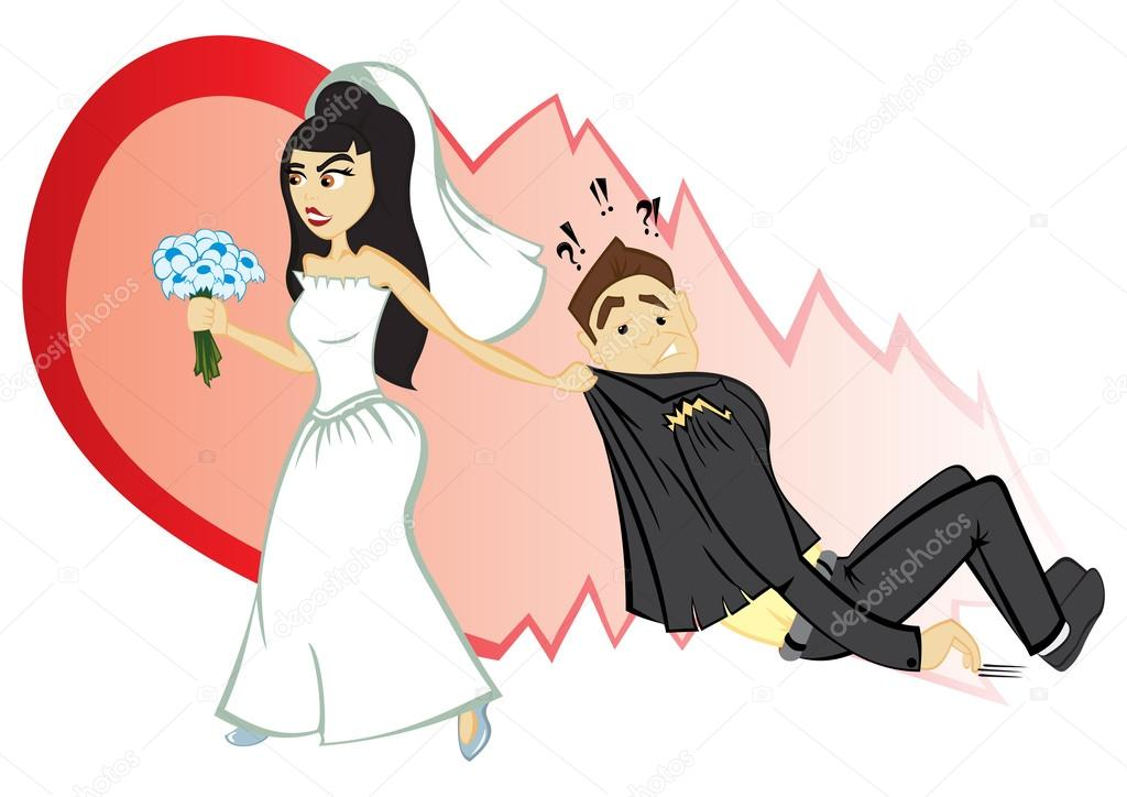 Bride convince groom to become marriage — Stock Vector #12752126