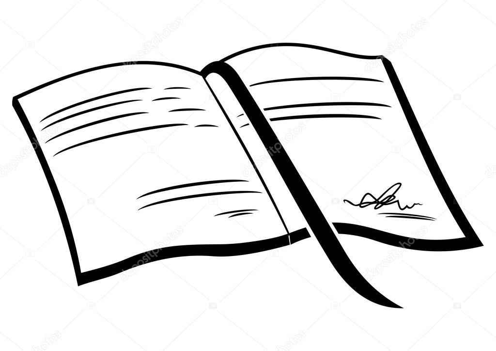 手绘打开的书本