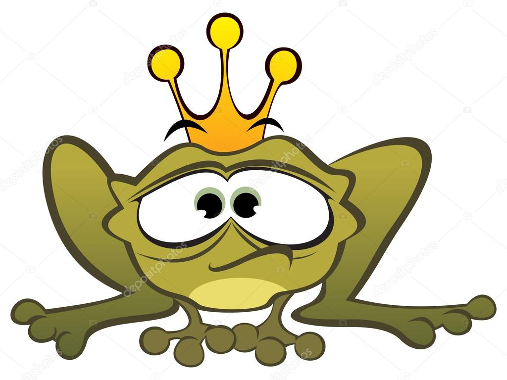 Sad frog prince created in cartoon style — Stock Vector #13784576