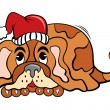 Dog in Christmas time — Stock Vector