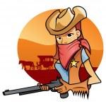 Portrait od Cowgirl — Stock Vector #16134839