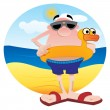 Tourist on the beach - Stock Vector