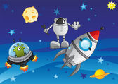 Adventure in cosmos — Stock Vector