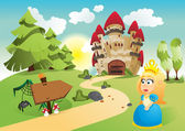 The princess and her kingdom — Stock Vector