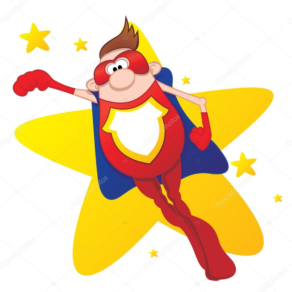 Illustration of flying Super Hero with cape — Stock Vector #17433457