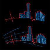 EKG of city — Stock Vector