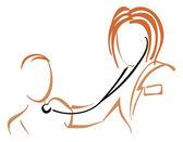 Kinderarts met stethoscoop — Stockvector
