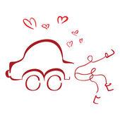 Honeymoon car — Stock Vector