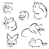 Set of rodents — Stock Vector