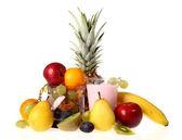 Fresh fruit with a glass of fresh yogurt — Stock Photo