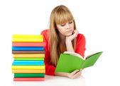 Young girl with books Isolated on white background — Stock Photo