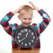 Child and clock, time concept — Zdjęcie stockowe