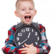 Stock Photo: Child and clock, time concept
