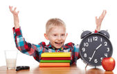 Child and clock, time concept — Stock Photo