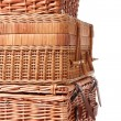 Stock Photo: Wooden basket for picnic isolated over white