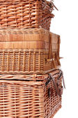 Wooden basket for picnic isolated over white — Stok fotoğraf