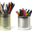 Stock Photo: Upcycling, Writing Accessories in Tin Cans