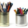 Royalty-Free Stock Photo: Upcycling, Writing Accessories in Tin Cans