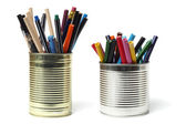 Upcycling, Writing Accessories in Tin Cans — Stock Photo