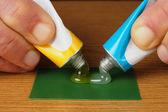 Tubes With Epoxy Glue — Stock Photo