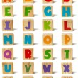 Wooden blocks font — Stock Photo