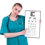 Doctor with optometry chart — Stock Photo #3933533
