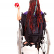 Young womon wheelchair, white background — Stock Photo #40733433