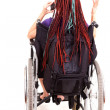 Young womon wheelchair, white background — Stock Photo #40733491