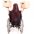 Young womon wheelchair, white background — Stock Photo #40733521