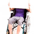 Young womon wheelchair, white background — Stock Photo #40733611