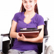Teen womon wheelchair, white background — Stock Photo #40733669
