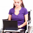 Young womon wheelchair, white background — Stock Photo #40733713