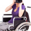 Young womon wheelchair, white background — Stock Photo #40733741