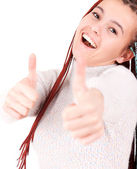 Woman smiling her thumbs up — Stock Photo