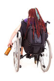 Woman with alcohol on the wheelchair, white background — Stock Photo