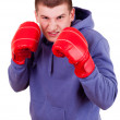 Young man in boxing gloves, white background — Photo #41171245