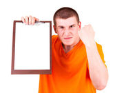 Angry joung man with tablet, white background — Stock Photo