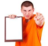 злой подросток человек с буфером обмена, белый фон — Стоковое фото