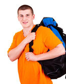 Young tourist man with backpack, white background — Stock Photo