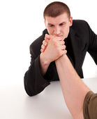 Arm wrestling, sparring, men on the white background — Stock Photo