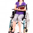 Постер, плакат: Invalid girl on wheelchair isolated on white