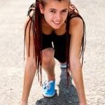 Teen Mädchen Vorbereiten der Ausführung — Stockfoto #41893261