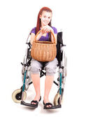 Invalid girl on wheelchair isolated on white — Foto de Stock