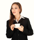 Assistant with headphones and coffee, white background — Stock Photo