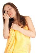 Beautiful young woman in towel  — Stock Photo