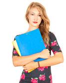 Student tjej med bok — Stockfoto