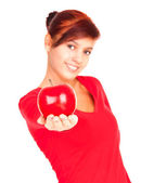 Beautiful young woman with red apple — Stock Photo